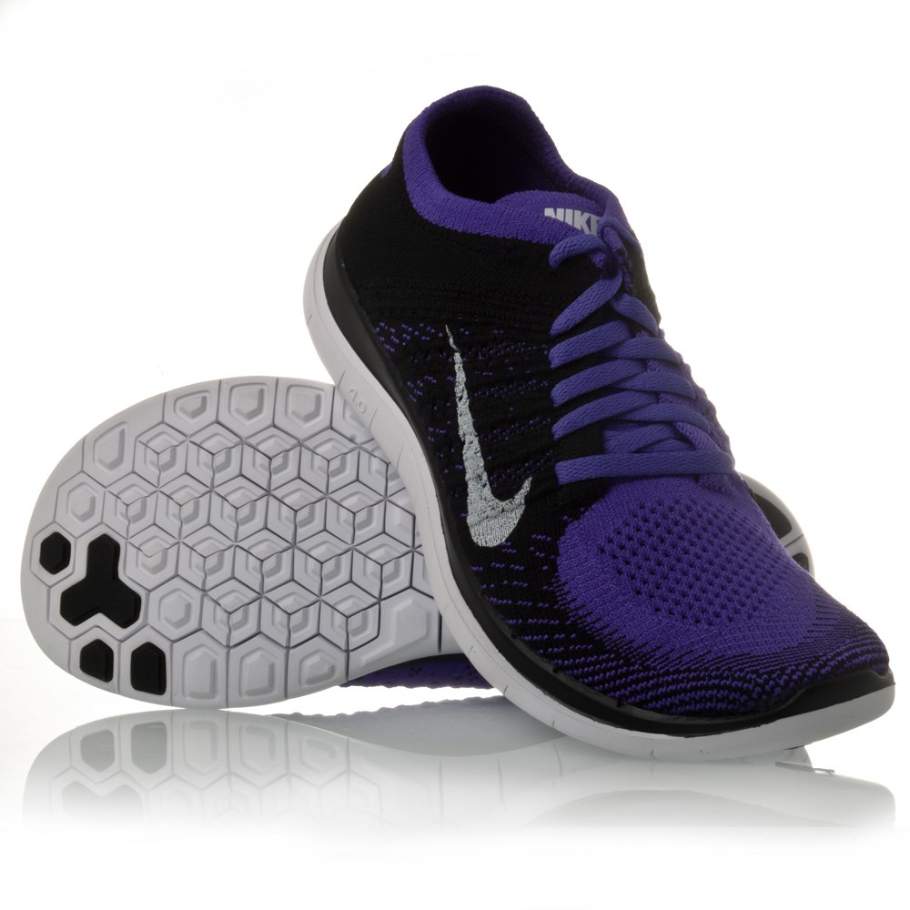 nike free flyknit 4 0 womens running shoes black white hyper grape online sportitude. Black Bedroom Furniture Sets. Home Design Ideas