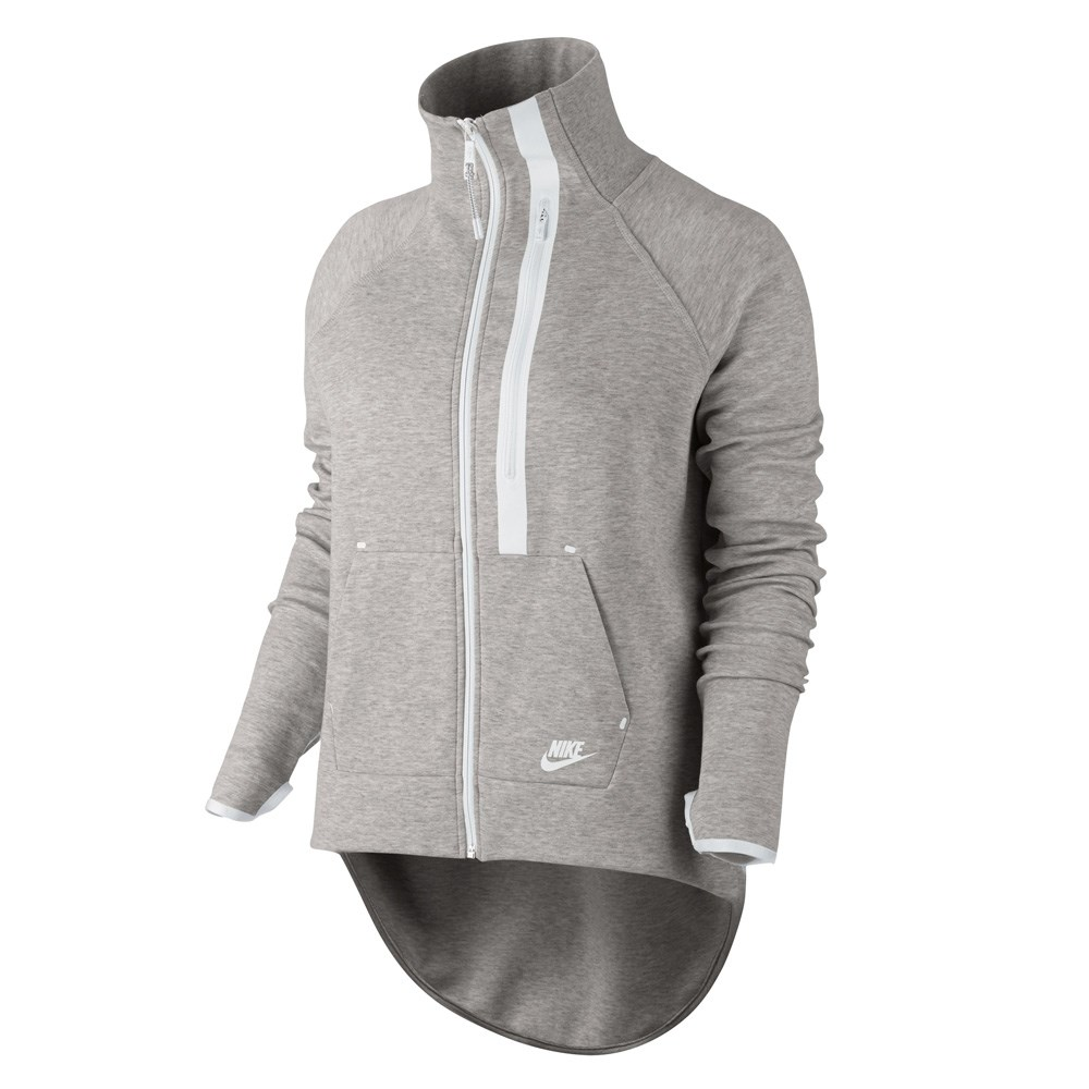 fc7db24641bf Nike Tech Fleece Moto Cape - Womens Jacket - Grey Heather White White