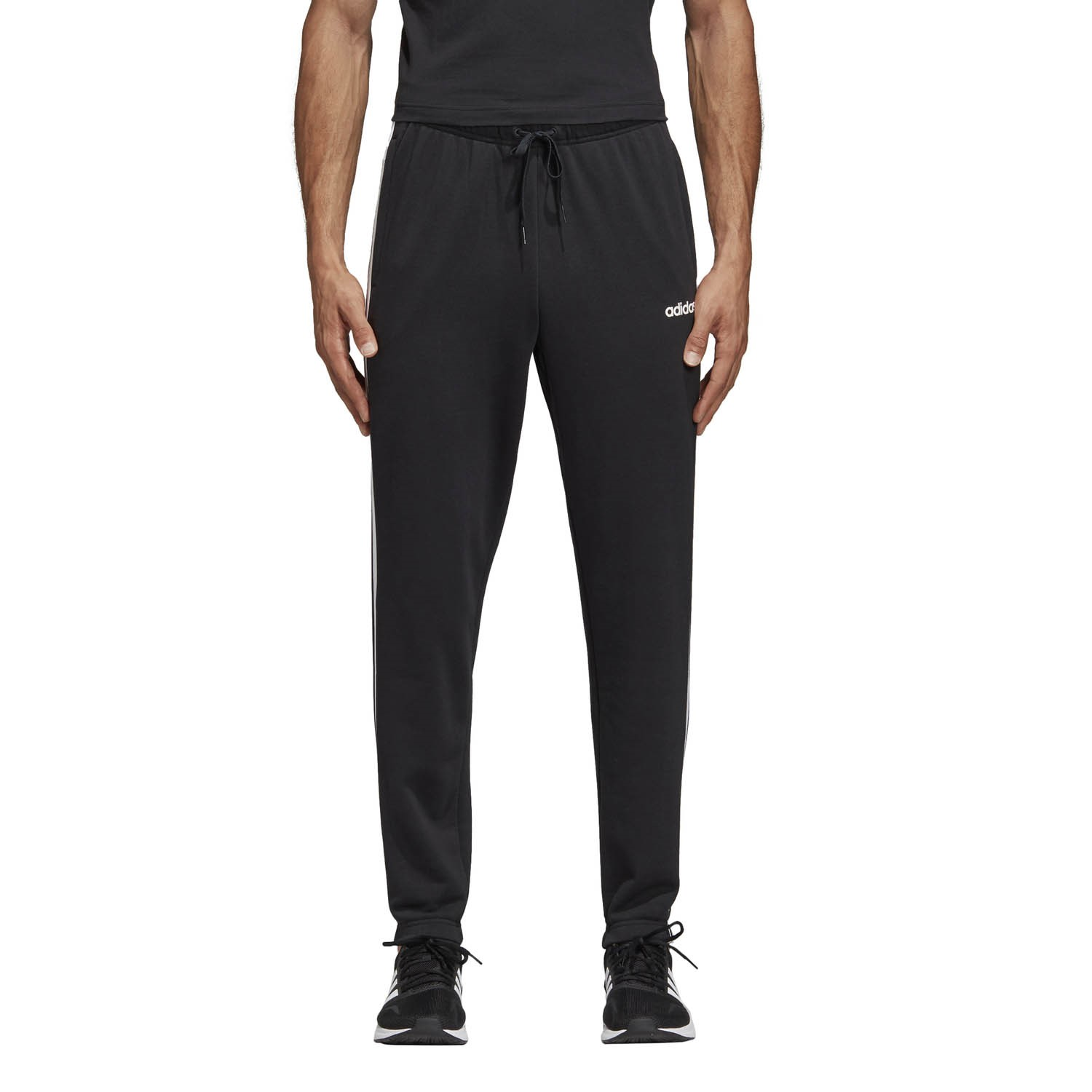 afa1ca41af5496 Adidas Essentials 3-Stripes Tapered Mens Track Pants - Black White ...