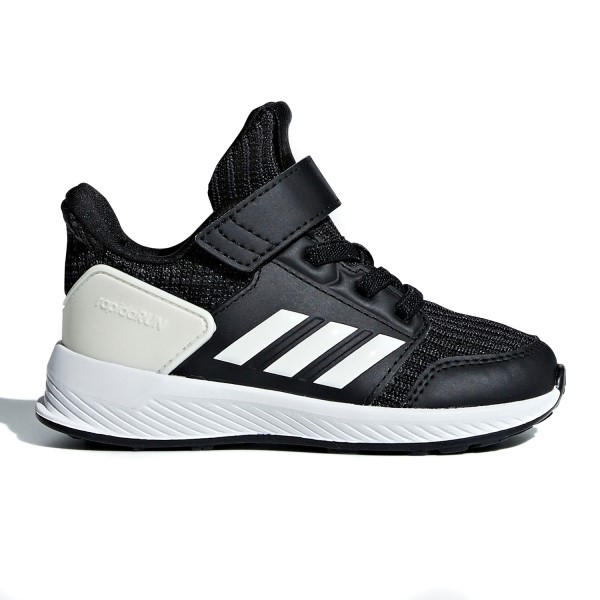 Adidas RapidaRun Knit Velcro - Toddler Boys Running Shoes - Black/White/Carbon