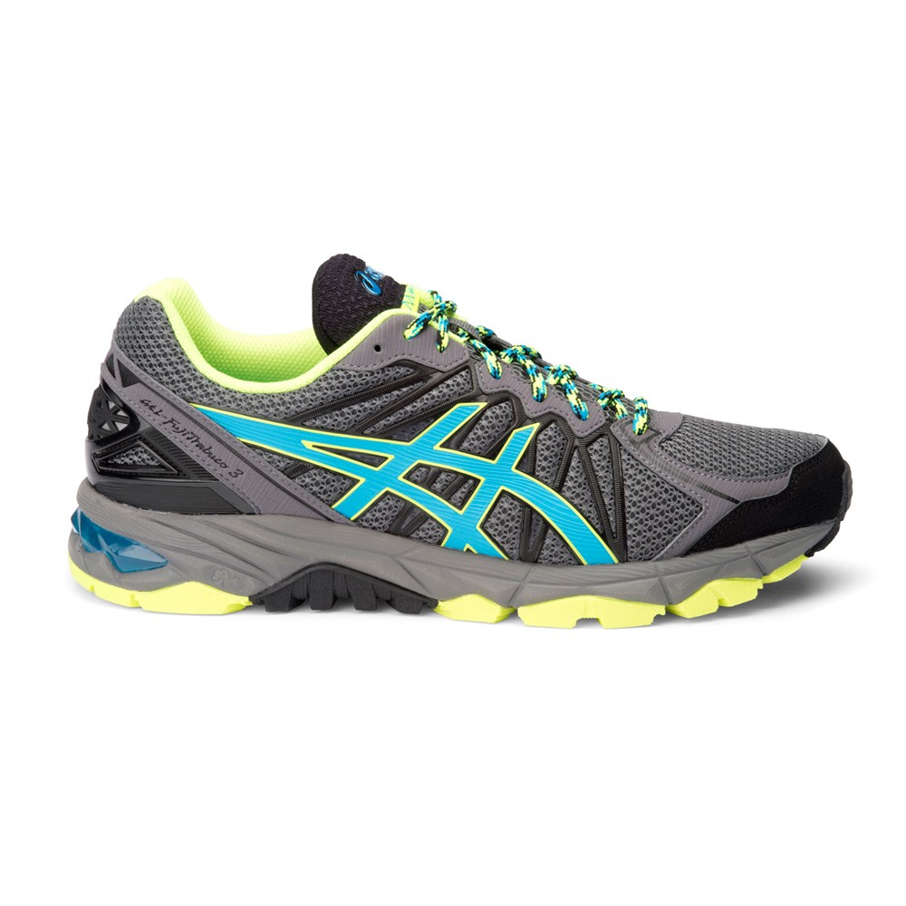 asics gel fuji trabuco 3 mens trail running shoes grey blue yellow online sportitude. Black Bedroom Furniture Sets. Home Design Ideas