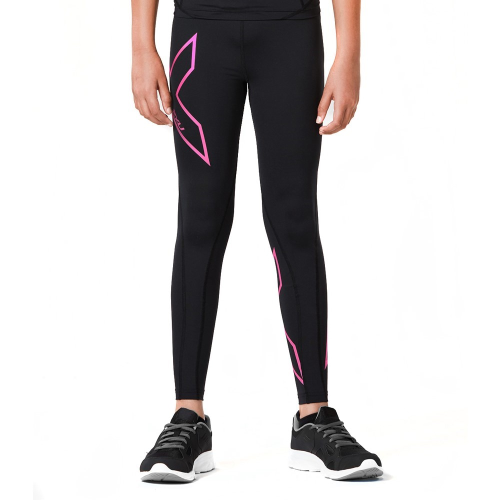 2Xu Kids Girls Compression Long Tights - Blackhot Pink -5612