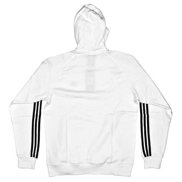 Adidas Essential Men's 3 Stripe Hoodie - White/Navy