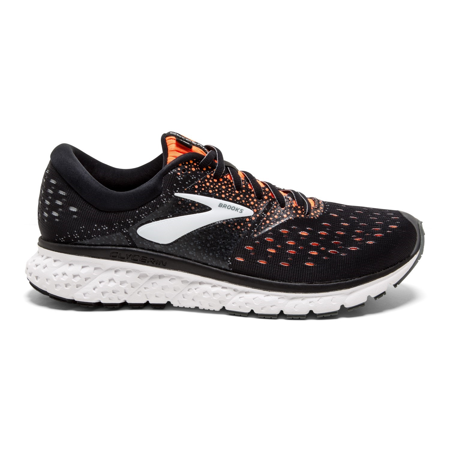 a76c848bcf2 Brooks Glycerin 16 - Mens Running Shoes - Black Orange Grey