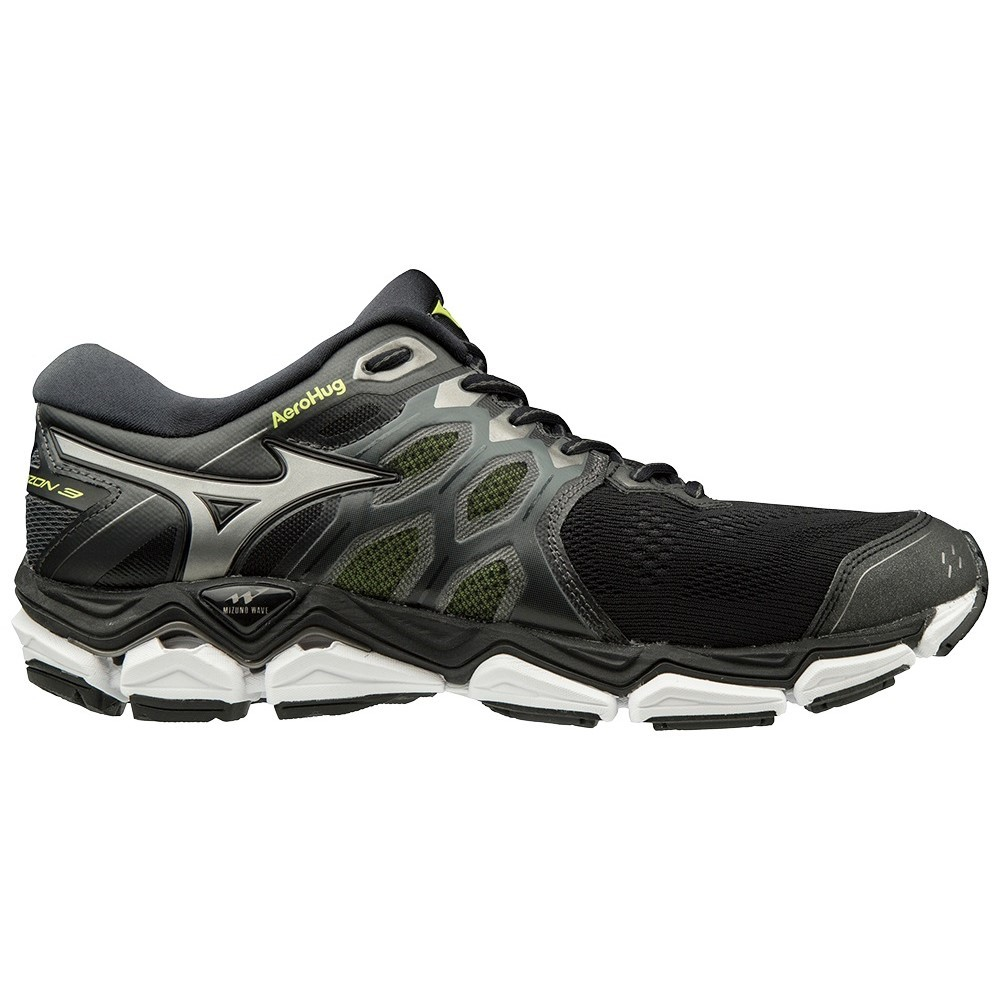 Mizuno Wave Horizon 3 - Mens Running Shoes - Black Safety Yellow ... 38e43e2e89