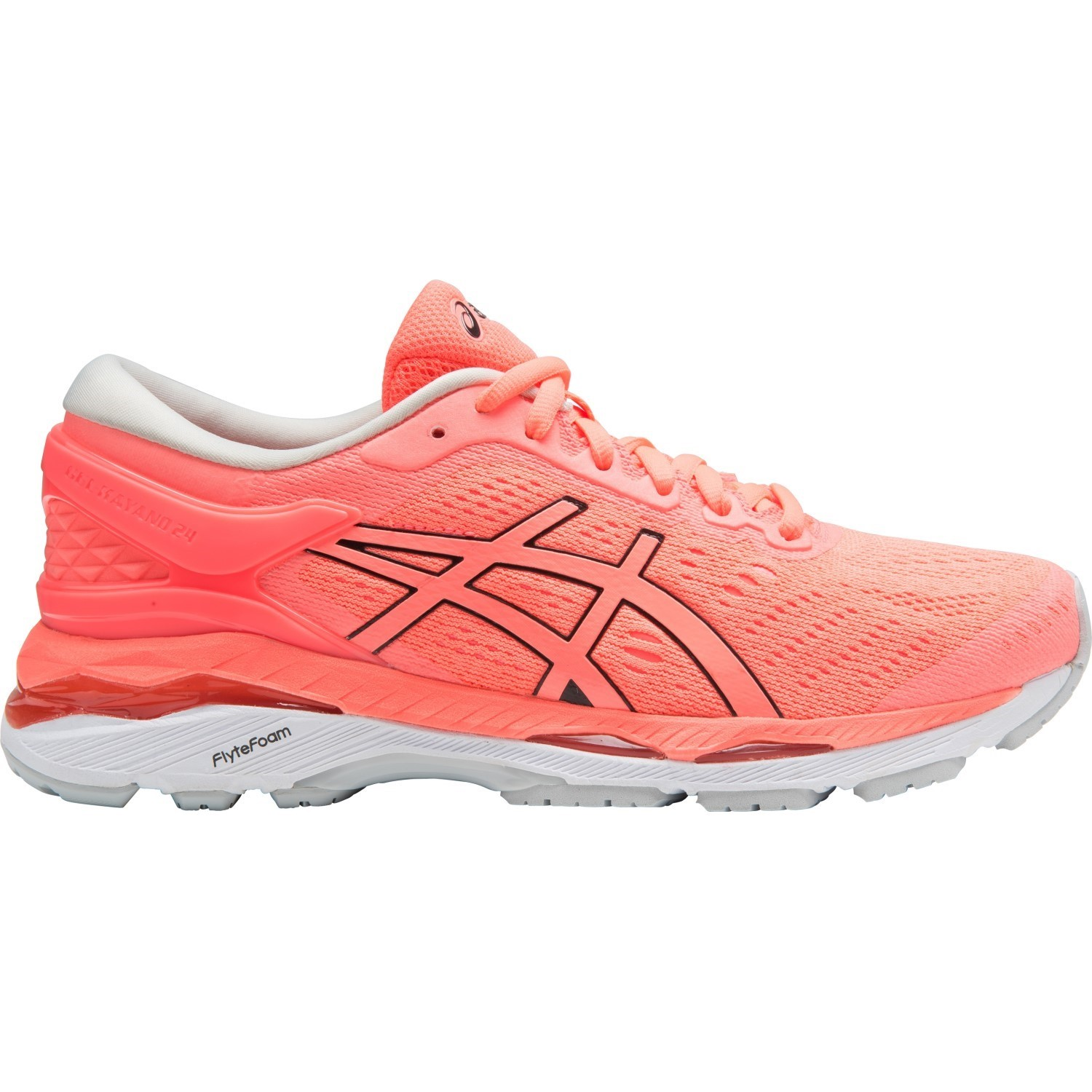 Asics Gel Kayano 24 - Womens Running Shoes - Flash Coral/Black/White