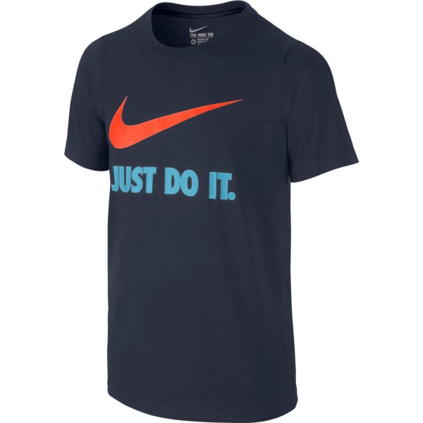 Nike Just Do It Swoosh Kids Boys Casual T-Shirt - Obsidian/Hyper Crimson
