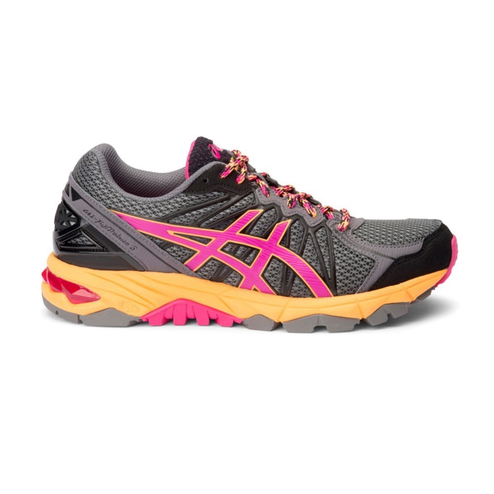 asics gel fuji trabuco 3 womens trail running shoes grey purple orange online sportitude. Black Bedroom Furniture Sets. Home Design Ideas