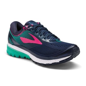 Brooks Ghost 10 - Womens Running Shoes - Navy/Pink/Teal Green