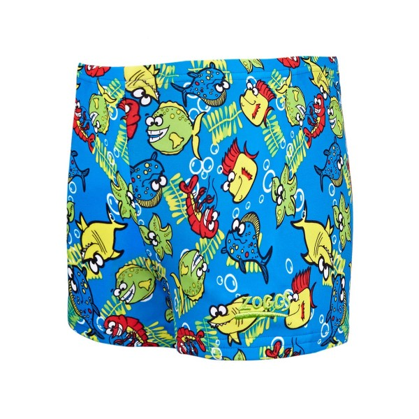 Zoggs Fishy Business Hip Racer Kids Boys Swimming Shorts - Blue