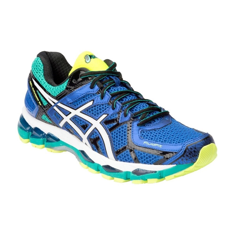 asics gel kayano 21 mens running shoes blue white yellow online sportitude. Black Bedroom Furniture Sets. Home Design Ideas