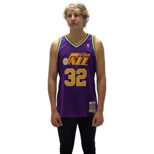 Mitchell & Ness Utah Jazz Karl Malone 32 Alt 1991-92 Swingman Mens Basketball Jersey