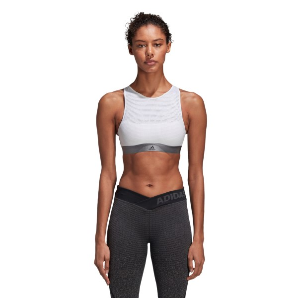 Adidas Womens Halter Sports Bra 2.0 - White/Grey