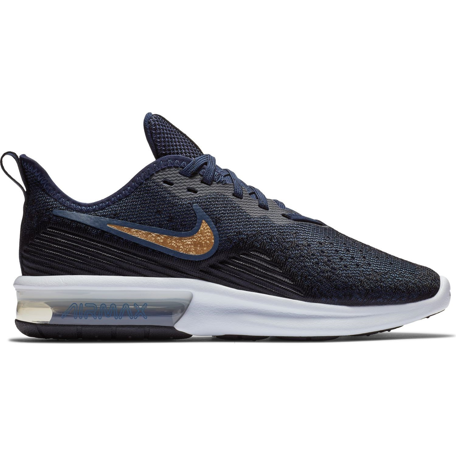 2571b82b4d1c Nike Air Max Sequent 4 - Womens Sneakers - Black Metallic Gold Obsidian