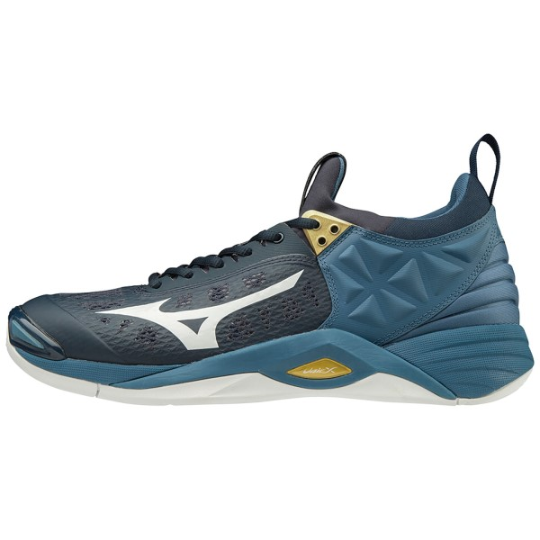 Mizuno Wave Momentum - Mens Indoor Court Shoes - Blueberry/White/Real Teal