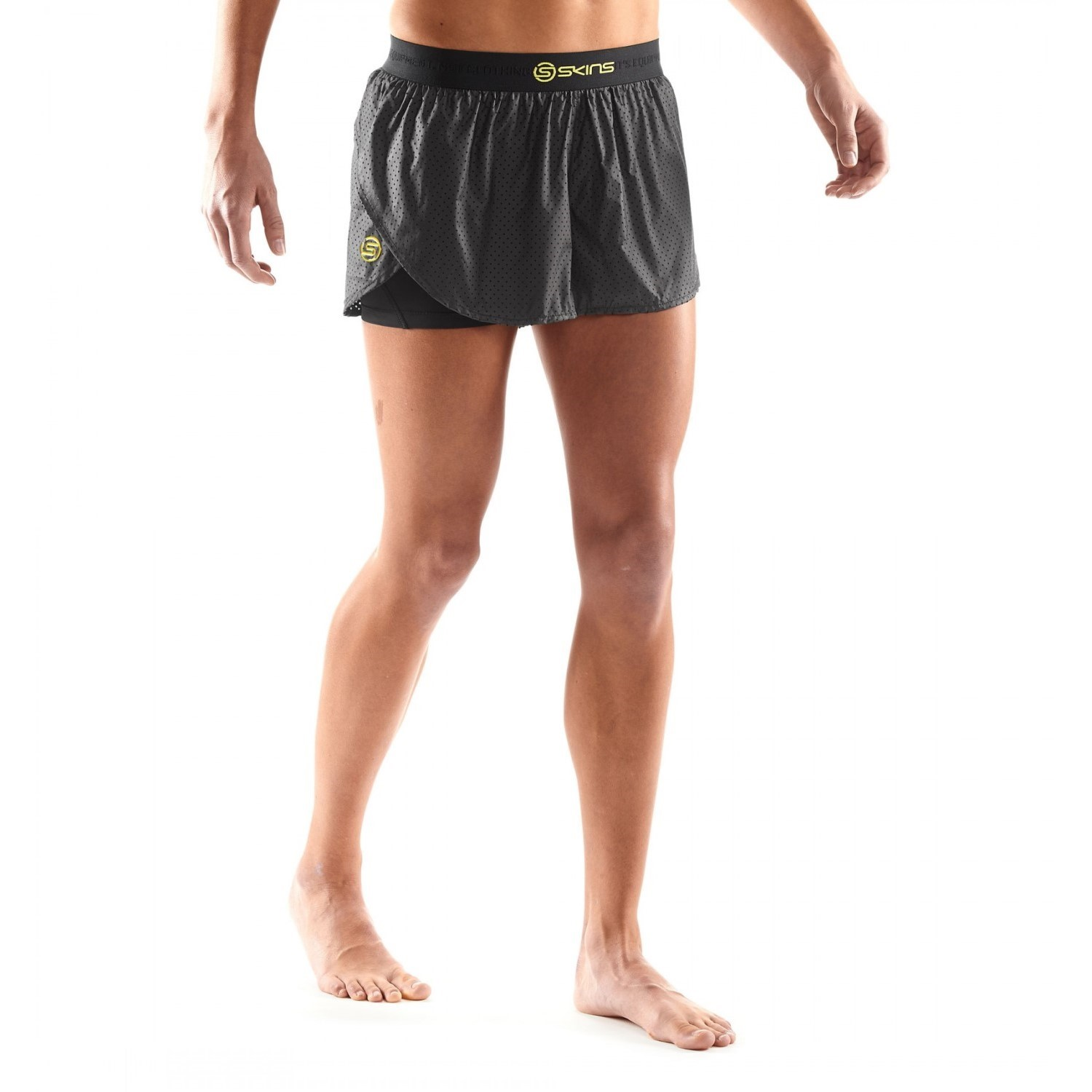 912aaab1b25aa Skins DNAmic Superpose Womens 2-in-1 Compression Shorts - Black/Limoncello