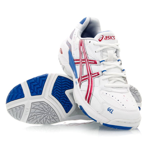 Asics Gel Academy 4 - Womens Netball Shoes - White/Crimson Dynamo/Sarah Blue