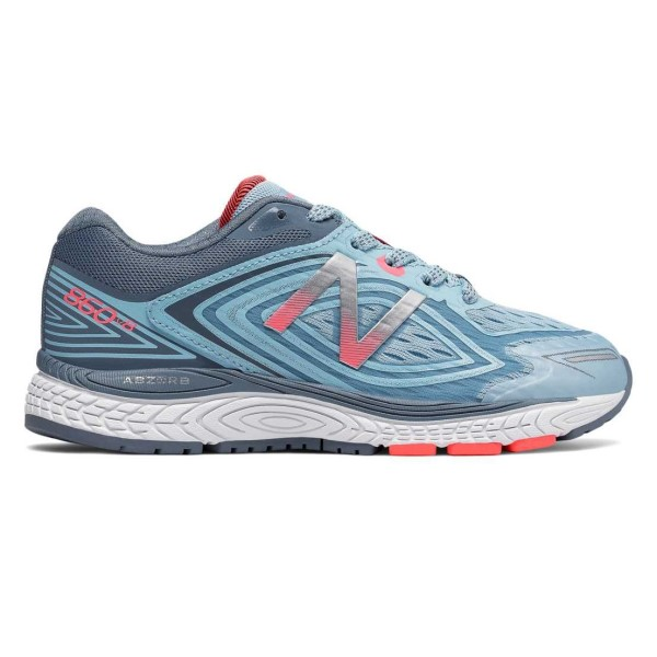 New Balance 860v8 - Kids Girls Running Shoes - Clear Sky/Pink/Silver