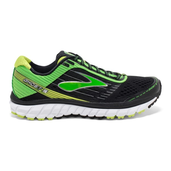 Brooks Ghost 9 - Mens Running Shoes - Black/Green/Lime Punch