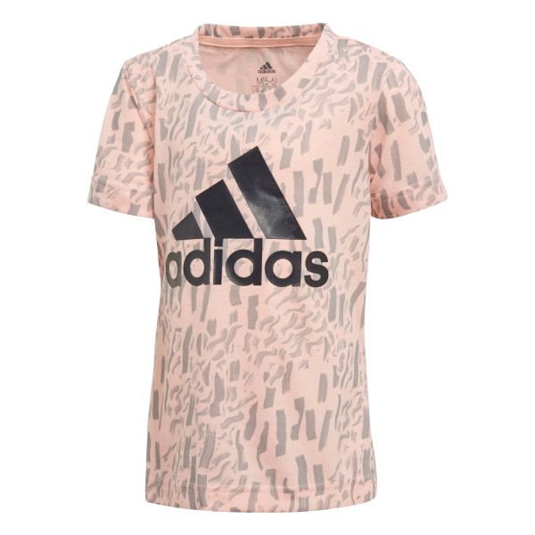 Adidas Badge Of Sport Little Girls Training T-Shirt - Haze Coral/Grey