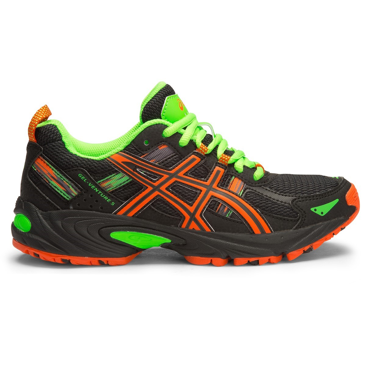 Asics Gel Venture 5 GS - Kids Boys Trail Running Shoes - Black/Flame Orange