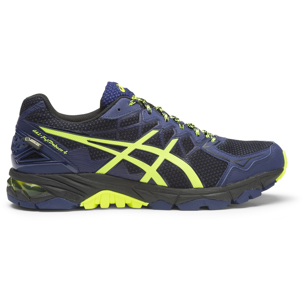 asics gel fuji trabuco 4 gtx mens trail running shoes black flash yellow indigo blue online. Black Bedroom Furniture Sets. Home Design Ideas