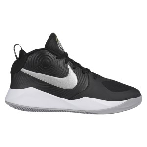 Nike Team Hustle D 9 GS - Kids Boys Basketball Shoes - Black/Metallic Silver