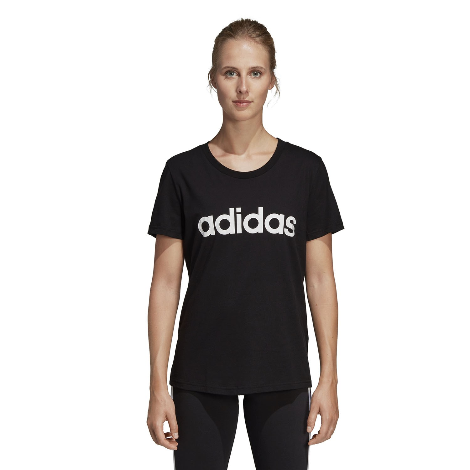 Adidas Essentials Linear Womens Slim T-Shirt - Black White  e9a77fbe0f0