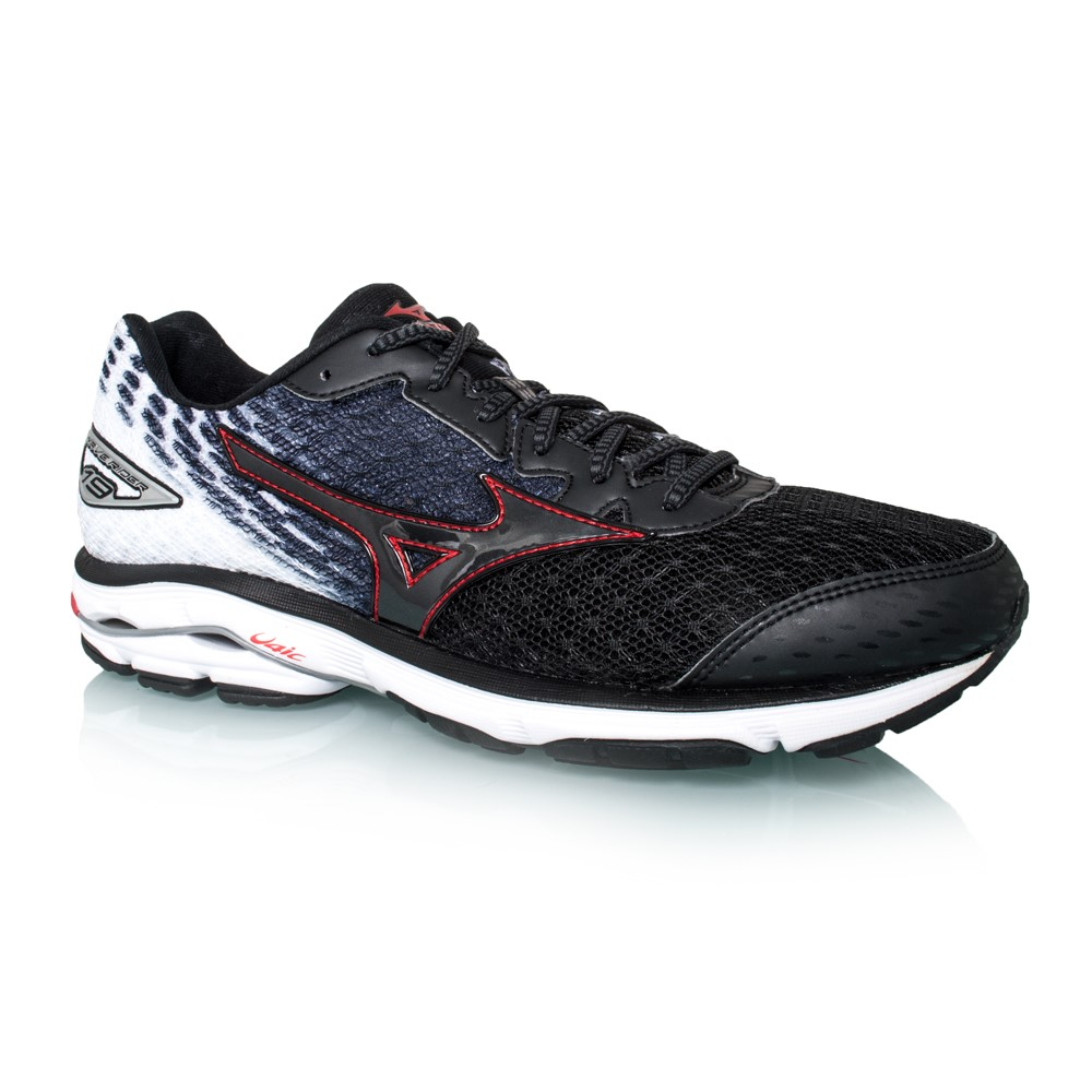 mizuno wave rider 19 mens running shoes black red online sportitude. Black Bedroom Furniture Sets. Home Design Ideas