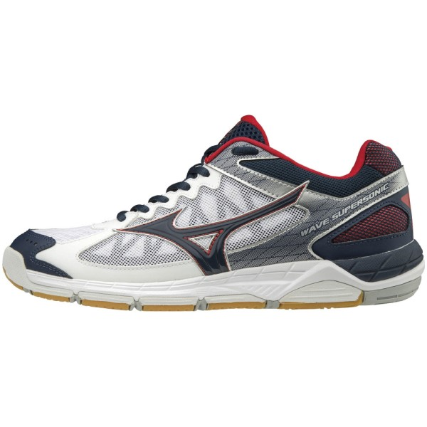 Mizuno Wave Supersonic - Mens Indoor Court Shoes - White/Dress Blues