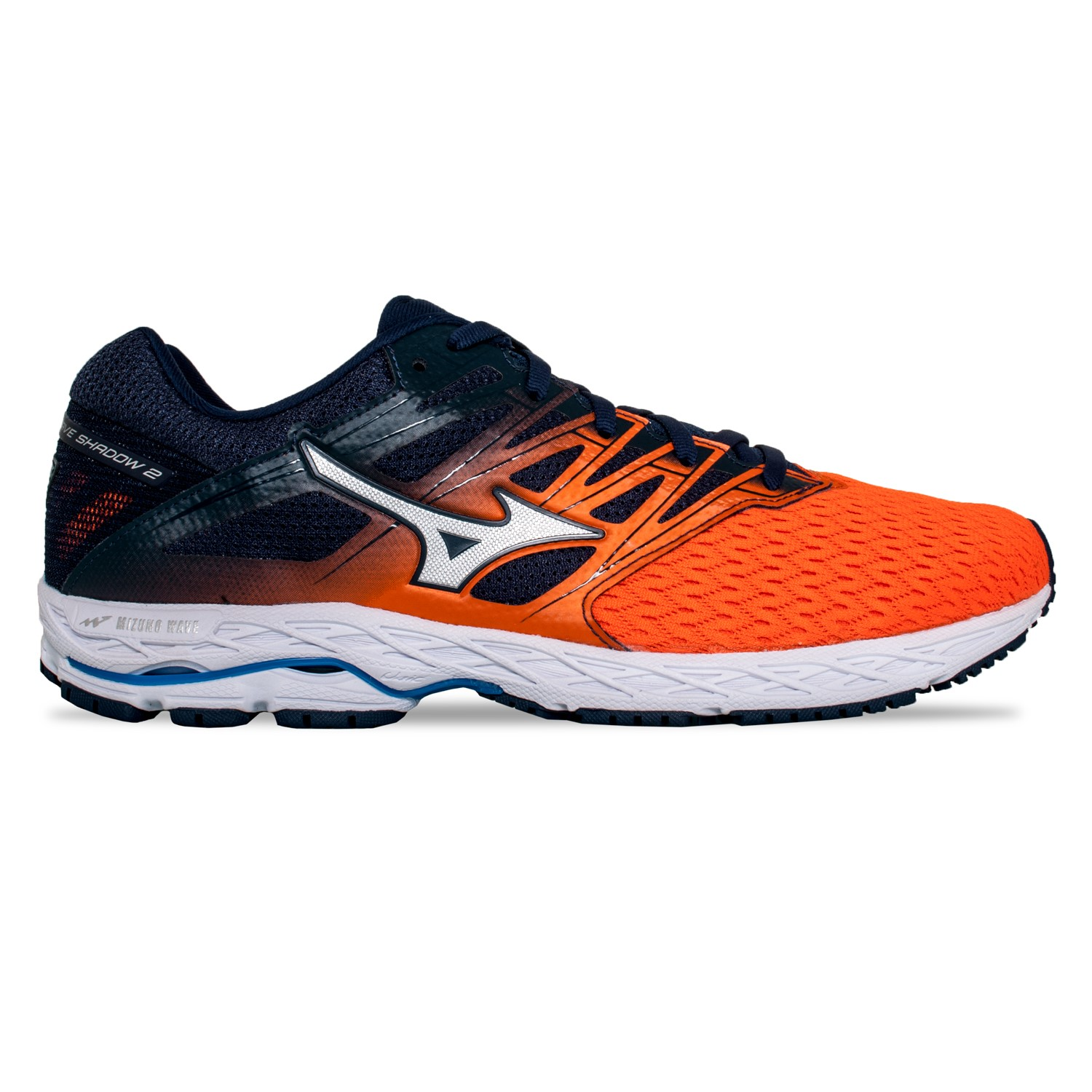 b2139d3330d Mizuno Wave Shadow 2 - Mens Running Shoes - Flame Silver Dress Blue ...