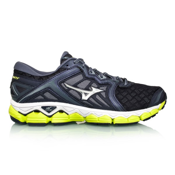 Mizuno Wave Sky - Mens Running Shoes - Graystone/Silver/Lime Punch