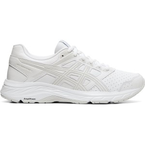 Asics Gel Contend 5 SL - Womens Walking Shoes - White/Glacier Grey