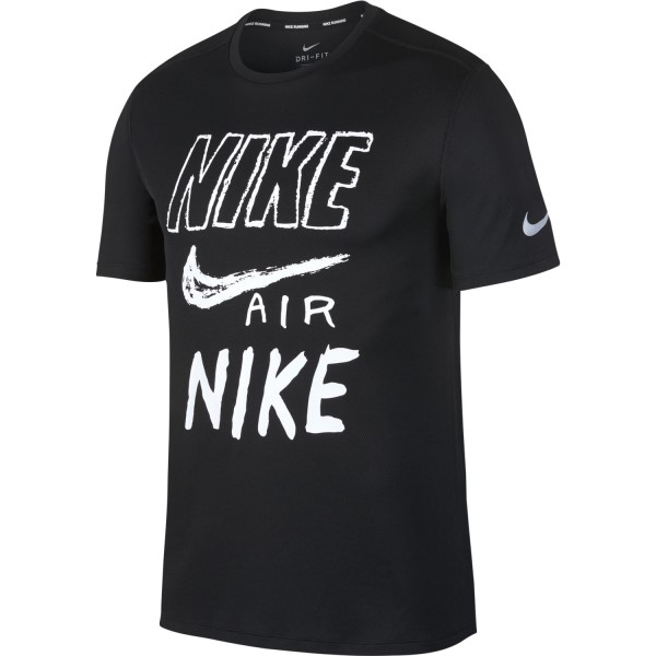 Nike Breathe Graphic Mens Running T-Shirt - Black/White/Reflective Silver