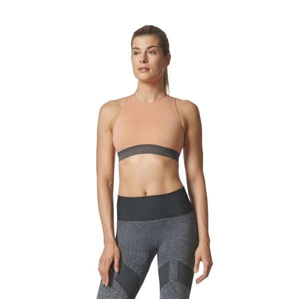 Adidas Womens Halter Sports Bra - Pink/Beige/Tactile Rose