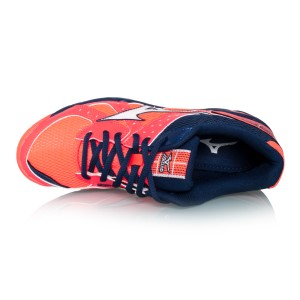 ... Mizuno Wave Twister 4 - Womens Netball Shoes - Fiery Coral/Blue Depths