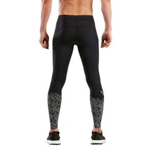 2XU Reflect Run Mens Running Tights With Storage - Black/Silver Lightbeams Reflect
