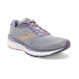 Brooks Adrenaline GTS 20 - Womens Running Shoes - Grey/Pale Peach/White