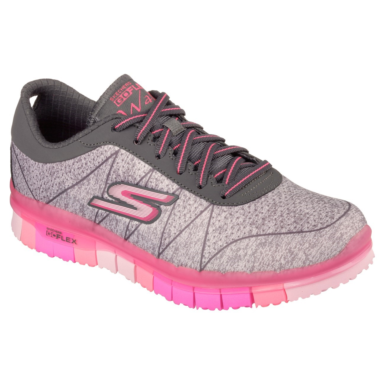 skechers go flex walk ability womens walking shoes grey hot pink online sportitude. Black Bedroom Furniture Sets. Home Design Ideas